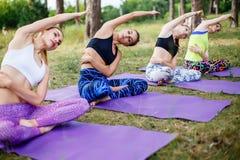 Un grupo de mujeres que hacen yoga en la hierba verde fresca al aire libre Forma de vida sana Fotos de archivo