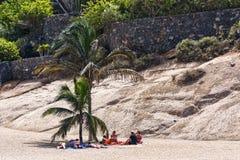Un grupo de personas que descansa sobre la arena en la sombra debajo de una palma Fotografía de archivo libre de regalías
