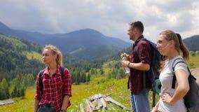 Un grupo de turistas parados para beber el agua almacen de metraje de vídeo