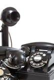Un grupo de vintage llama por teléfono en un fondo blanco Fotos de archivo libres de regalías