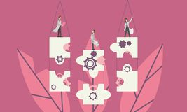 Un gruppo della gente che lavora insieme, ostacolante i pezzi di puzzle come soluzione ad un problema royalty illustrazione gratis