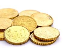 Un gruppo di 10 bobine del centesimo dell'euro Immagine Stock