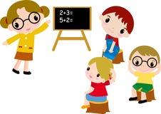 Un gruppo di bambini del banco di per la matematica royalty illustrazione gratis