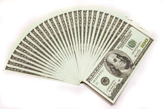 Un gruppo di cento fatture del dollaro Immagini Stock Libere da Diritti