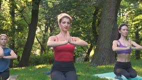 Un gruppo di cinque donne sportive che praticano lezione con l'istruttore, allenamento di yoga nel parco di estate che fa eserciz archivi video