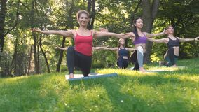 Un gruppo di cinque donne sportive che praticano lezione con l'istruttore, allenamento di yoga nel parco di estate che fa eserciz video d archivio