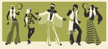 Un gruppo di cinque vestiti d'uso di hippy degli anni 60 e del dancing 70s royalty illustrazione gratis