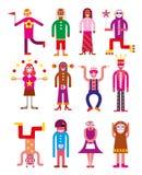 Un gruppo di 12 genti divertenti illustrazione vettoriale