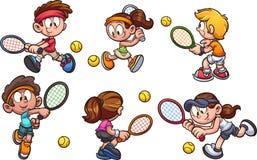 Un gruppo di giocar a tennise dei bambini del fumetto illustrazione vettoriale