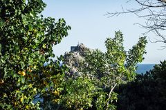 Un gruppo di persone sopra una scogliera Nella priorità alta c'è alberi e fogliame giallo verde Immagini Stock