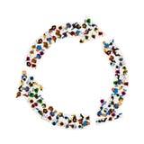 Un gruppo di persone in una forma di circolazione delle frecce, isolata su fondo bianco Illustrazione di vettore illustrazione vettoriale