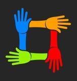 Un gruppo di quattro mani illustrazione di stock