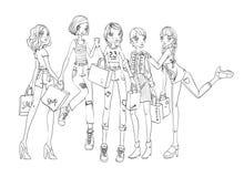 Un gruppo di ragazze con i sacchetti della spesa in mani Descriva l'illustrazione di vettore, isolata su fondo bianco illustrazione vettoriale