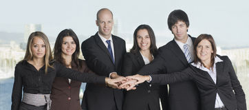Un gruppo di sei persone di affari Fotografie Stock Libere da Diritti