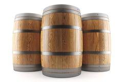 Un gruppo di tre barilotti di vino Immagini Stock