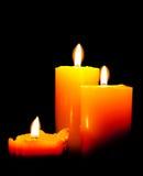 Un gruppo di tre candele di indicatori luminosi Fotografia Stock Libera da Diritti