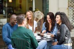 Un gruppo multirazziale di cinque amici che mangiano un caffè insieme fotografia stock libera da diritti