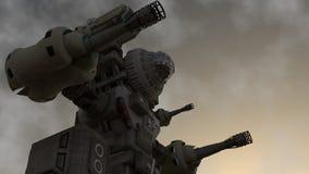 Un guerrero mecánico que se coloca en la tierra ilustración del vector