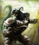 Un guerriero della lucertola che indossa un'armatura d'acciaio Fotografia Stock Libera da Diritti