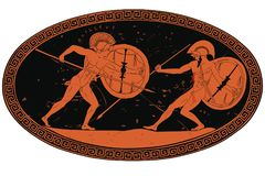 Un guerriero di due greci antichi illustrazione vettoriale