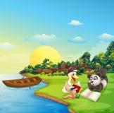 Un gusano, un pato y una lectura de la panda en el riverbank libre illustration