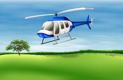 Un hélicoptère environ à la terre illustration de vecteur
