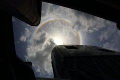un halo du soleil de phénomène optique Image stock