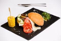 Un hamburger di raduno è servito con formaggio e le verdure Fotografie Stock Libere da Diritti
