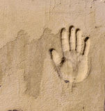Un handprint sur un mur Photo libre de droits