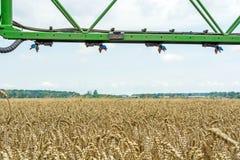 Un haut-dégagement, pulvérisateur moderne au-dessus du champ de blé images libres de droits