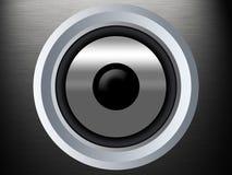 Un haut-parleur sur une texture en métal de silber Photographie stock libre de droits