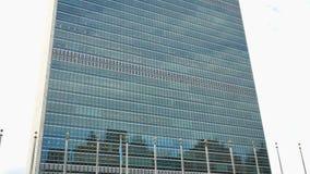 UN headquarters Manhattan New York. UN headquarters facade building Manhattan New York City USA stock video