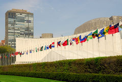 UN Headquarters in New York. Flags in front of the UN Headquarters in New York Royalty Free Stock Image