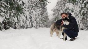 Un hombre abraza su husky siberiano en el bosque en los árboles del fondo en la nieve Orgullo y felicidad en los ojos caminata metrajes