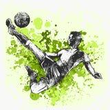 Un hombre caucásico del jugador de fútbol que juega a fútbol ilustración del vector