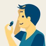 Un hombre con el usb en la cabeza, ejemplo médico futurista del concepto stock de ilustración