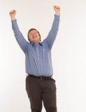 Un hombre con las manos para arriba en el aire Aislado en el fondo blanco Fotografía de archivo