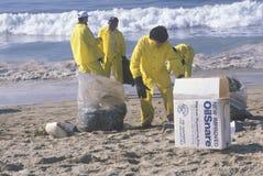 Un hombre con los materiales adsorbentes para limpiar el petróleo Foto de archivo