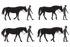Un hombre con un caballo ilustración del vector