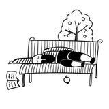 Un hombre con una barba negra en un chaleco rayado se cayó dormido en un ejemplo del banco de parque Foto de archivo
