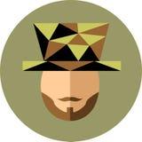 Un hombre con una barba y bigote en el sombrero El caballero hace juegos malabares stock de ilustración
