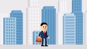 Un hombre de la historieta animada en un traje de negocios con una cartera camina contra el contexto de la ciudad stock de ilustración