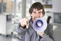 Un hombre de negocios con el megáfono Fotografía de archivo
