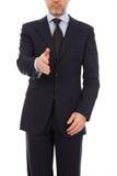 Un hombre de negocios con una mano abierta lista para sellar una d Foto de archivo libre de regalías