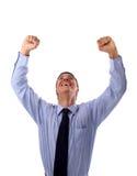 Un hombre de negocios enérgio muy feliz Foto de archivo libre de regalías