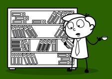 Un hombre de negocios Finding un fichero y un té de consumición ilustración del vector