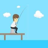Un hombre de negocios Fishing Vector Imagenes de archivo
