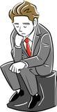 Un hombre de negocios de pensamiento le gusta el pensador stock de ilustración