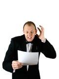 Un hombre de negocios que expresa choque Foto de archivo libre de regalías