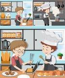 Un hombre en clase de cocina ilustración del vector